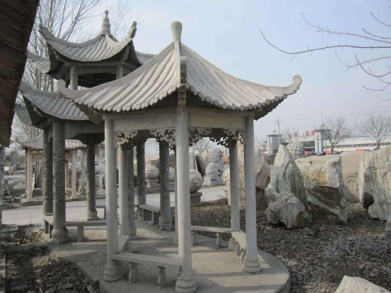 单层石雕凉亭